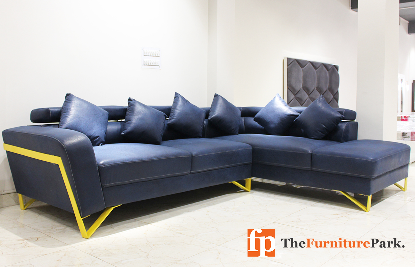 Galaxy Blue L Shape Sofa 1